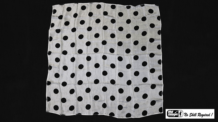 Polka Dot Hanky, Black on White (21  inches  x 21  inches) by Mr. Magic - Trick