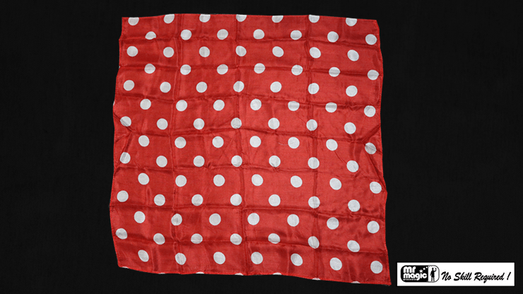Polka Dot Hanky, White on Red (21  inches  x 21  inches) by Mr. Magic - Trick